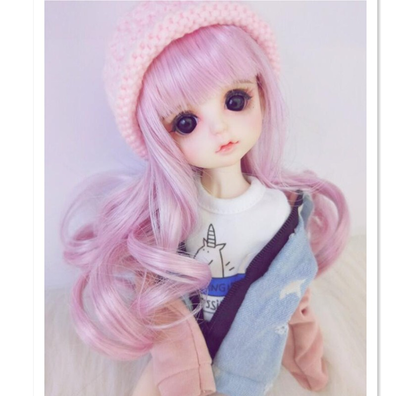 BEIOUFENG 1/3 1/4 1/6 1/8 High-Temperature Doll Wig Long Wavy Wigs SD BJD Wig with Bangs,Curly Hair Wigs for Dolls Accessories 1 3 1 4 bjd doll wigs high temperature wire long wavy hair for dolls new design synthetic doll hair accessories for dolls