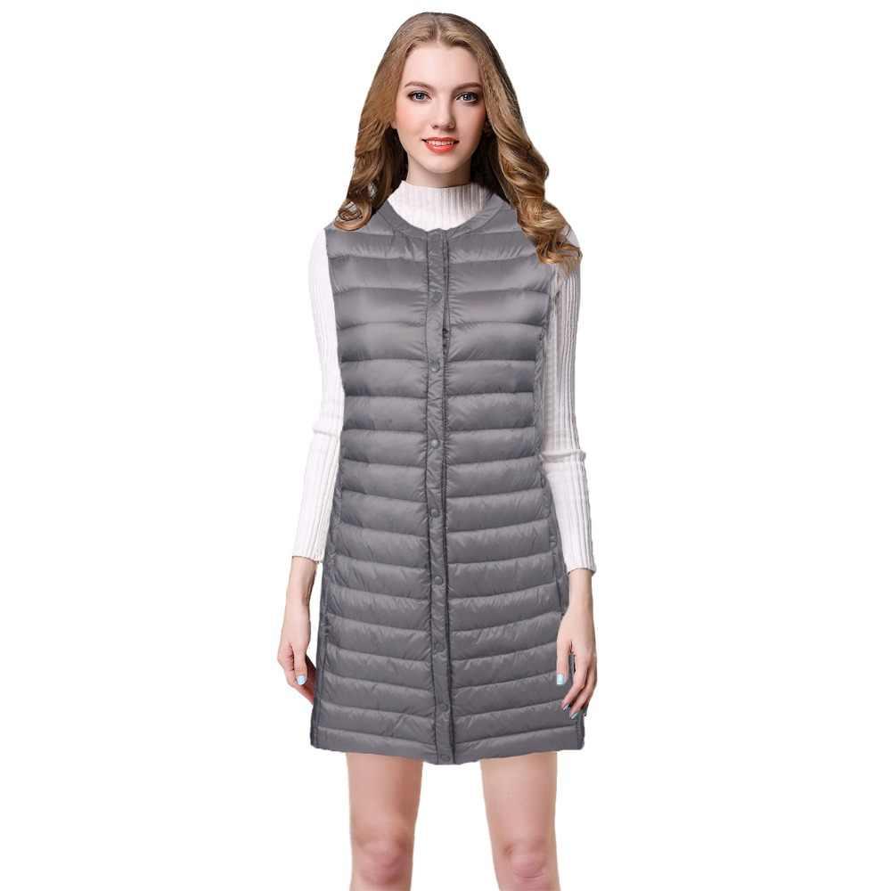 NewBang Marke Ultra Licht Unten Weste Frauen Lange Weste Winddicht Leichte Warme Weste Weibliche Unten Mantel Lang Schlank Sleeveless