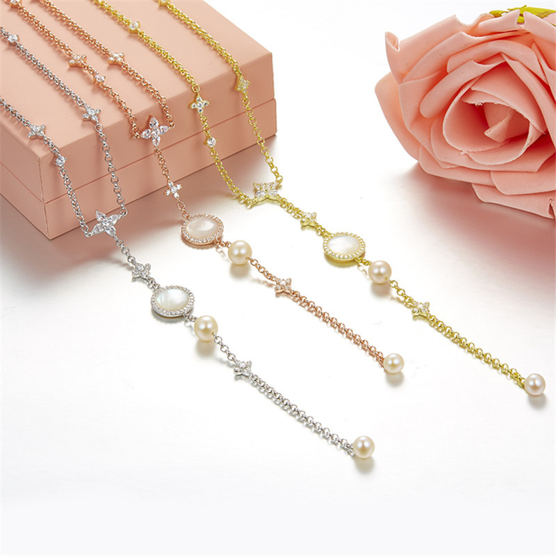 925 Sterling Silver Women Pendant Necklace Famous Long Pearl Shell Stars Tassels Monaco Brand Design pendentif femme Necklace