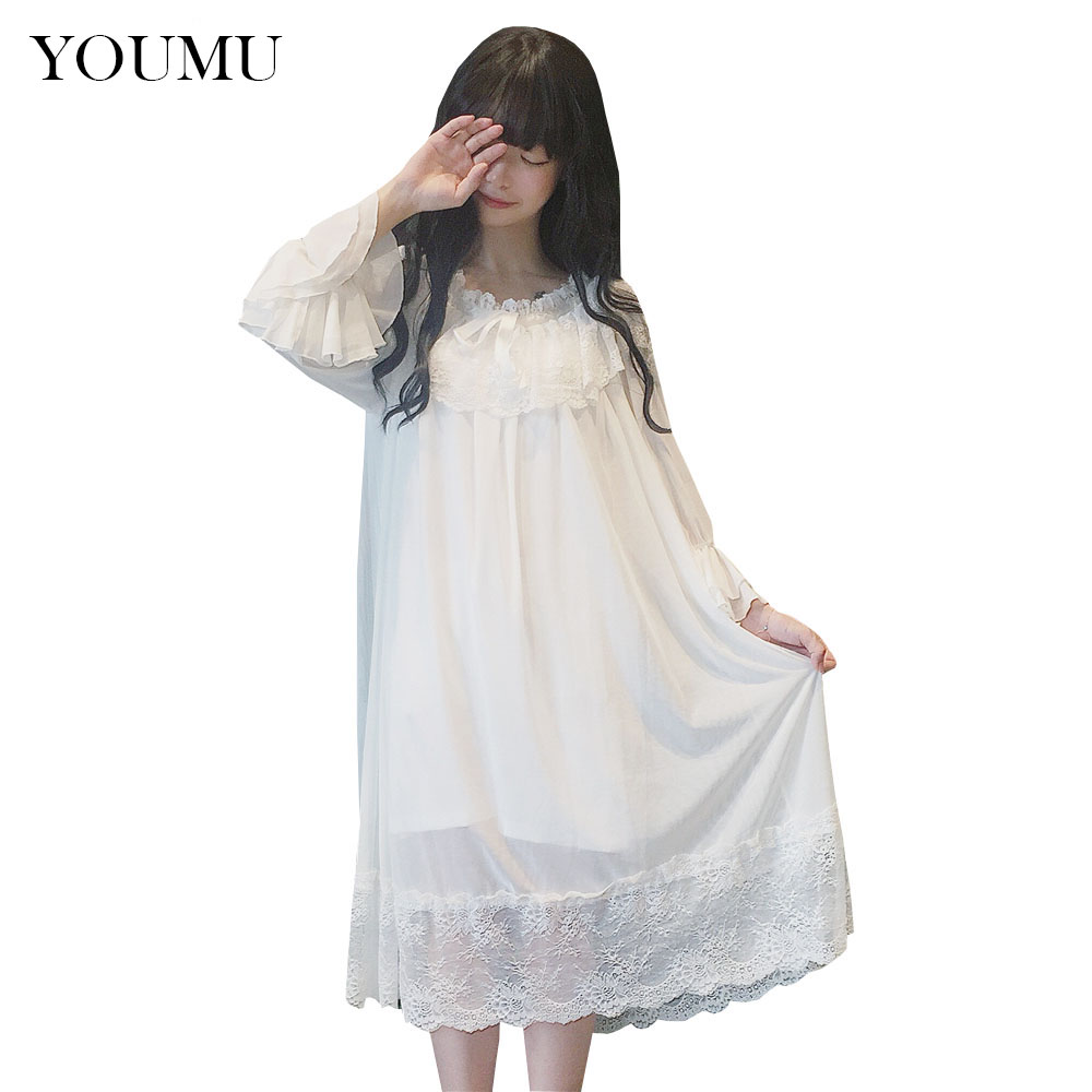 Lady Girls Lolita Victorian Retro Nightie Ruffle Lace Nightdress Nightwear Fairy Homewear Dress 904-965