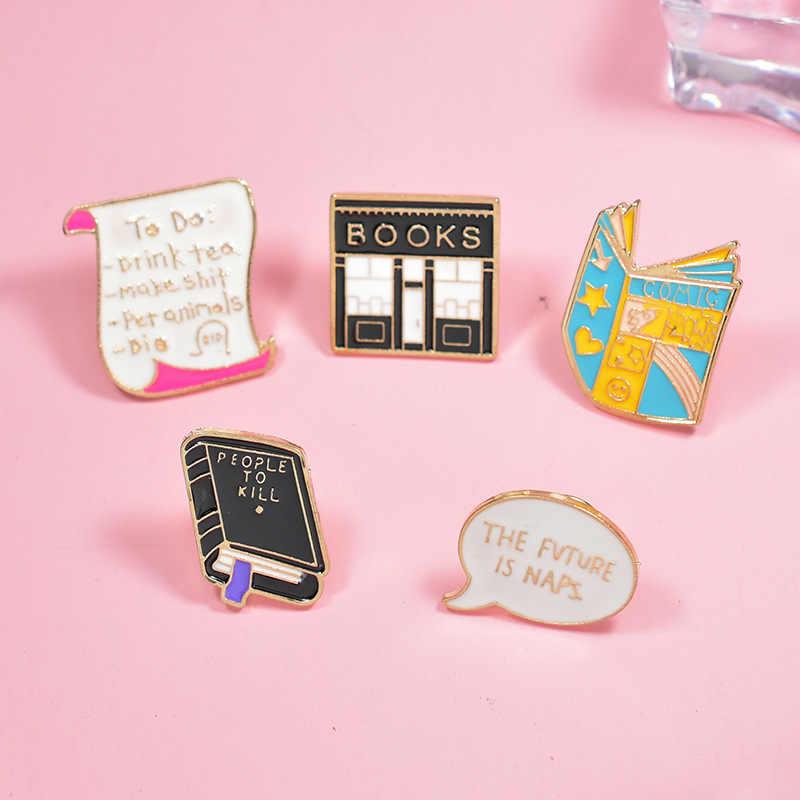 การ์ตูน Creative Book สำหรับผู้หญิง Pad ร้านหนังสือ Chat กล่องโน้ตบุ๊ควรรณกรรมเครื่องประดับเคลือบ Pin Denim แจ็คเก็ต Collar Badge