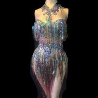 Women Sexy Stage Bodysuit Colorful Tassel Sparkling Crystals Jumpsuit Nightclub Party Stage Wear Dancer Singer Bodysuits