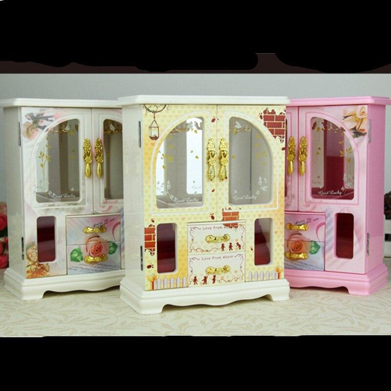 20CM Refinement Continental Wardrobe Music Box Pink/Beige/White Jewelry Case Home Decorations Creative Artware Puzzle Gift L1813