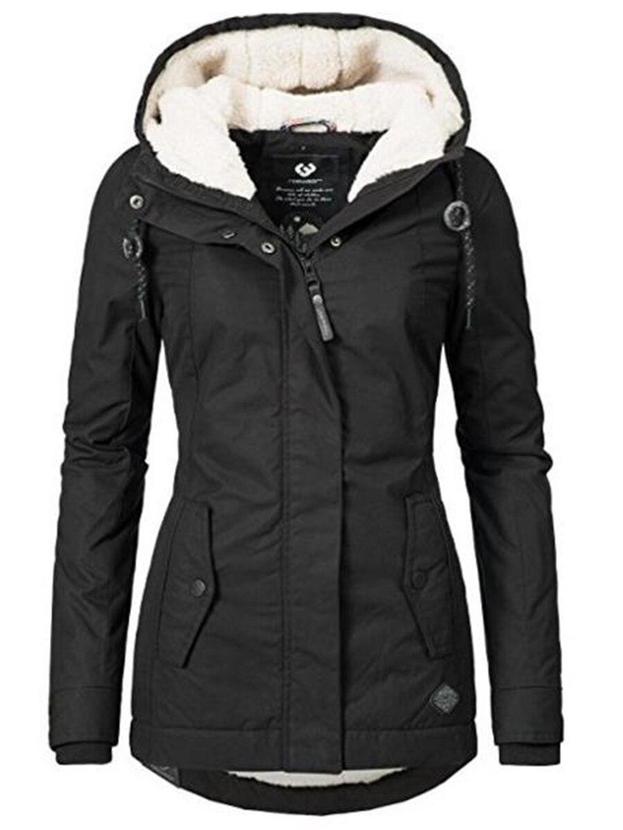 Sisjuly Women Jackets Zipper-Pocket Black Ladies Overcoats Hooded Female Slim Winter