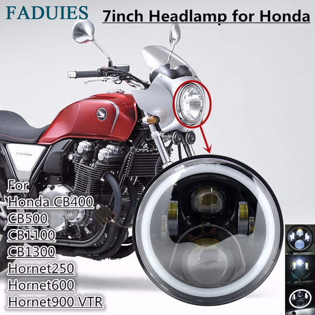 Faduies Black Motorcycle Led Headlight With Halo Ring For Honda