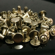 100Sets/Lot 8X7MM Light Gold Round Flat Spikes Metal Studs Rivets Screwback Spots Cone Leather Craft Spikes Fit For DIY Making