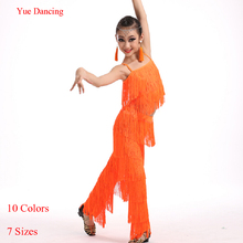 9b248a2bc 2-15Y Children Fringe Dance Pants Tassel Top and Pants For Latin Dance Latin  Clothes