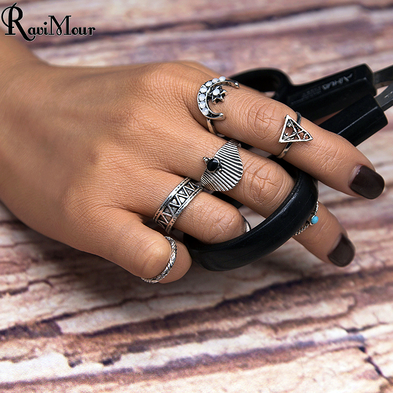 RAVIMOUR 7pcs/Set Fashion Vintage Punk Midi Rings Set Antique Silver Color Boho Moon Triangle Knuckle Jewelry Ring For Women