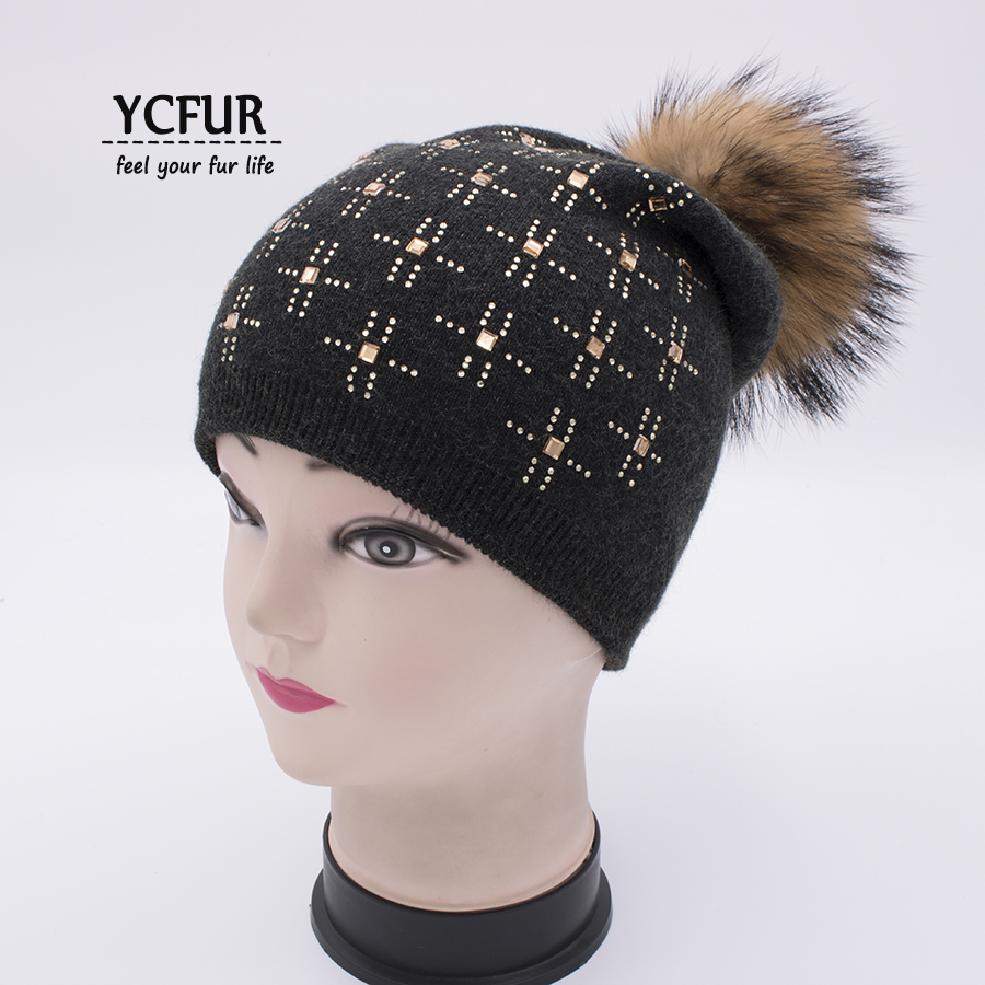 YCFUR Winter Autumn Hat Cap Balaclava For Women Knitted Wool Beanies Hats With Raccoon Dog Fur Pom Pom Caps Skullies Female autumn winter beanie fur hat knitted wool cap with raccoon fur pompom skullies caps ladies knit winter hats for women beanies