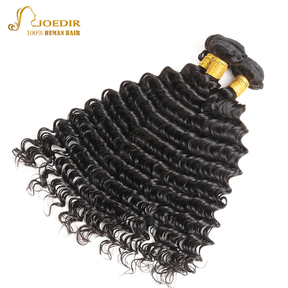 Joedir Pre-Colored Non-Remy Hair Indian Human Hair Wet And Weave Deep Wave Hair Natural Color 3 Bundles 10-26 inch