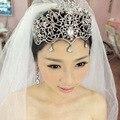 2015 мода большой кристалл Люкс тиара свадебный волосы ювелирные женщины Pageant коронки оформление свадебные аксессуары для волос