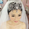 2015 moda grande jóia do cabelo do casamento de cristal tiara de Noiva mulheres Pageant coroas acessórios para o cabelo de casamento de apuramento