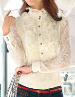 Ladies High Neck Frilly Womens Vintage Victorian Blouse Ruffle Lace Top Shirt