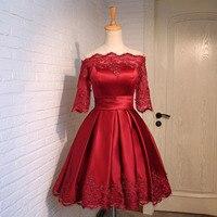 FOLOBE Mulheres Meninas Vinho Tinto Vestidos de Renda Elegante Do Vintage Applique Manga Curta vestido de Baile Vestido de Festa À Noite Vestido Formal