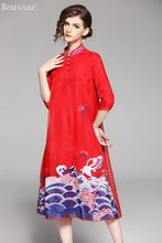 Free shipping Spring/Summer original design middle long Voile Chinese style Embroidered big size dress for women