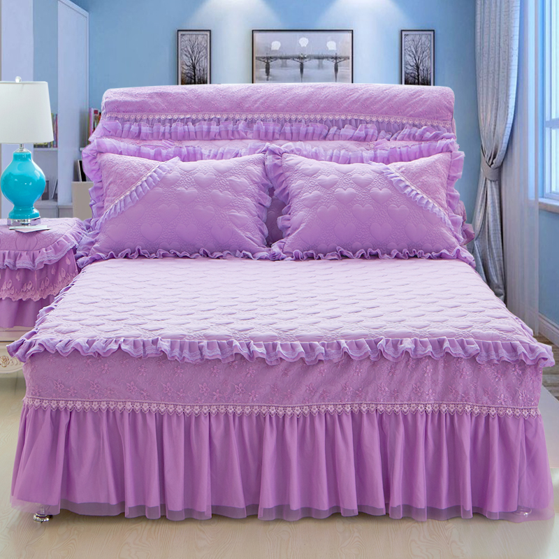 free shipping 3pcs princess lace purple pink beige bed skirt king queen full size home. Black Bedroom Furniture Sets. Home Design Ideas