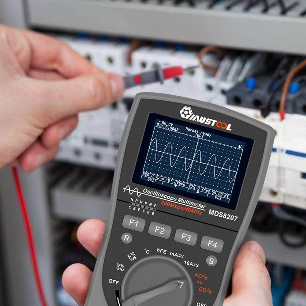 El más nuevo multímetro de osciloscopio Digital inteligente MUSTOOL MDS8207 2 en 1, probador automático de una tecla, 40 MHz, 200Msp con Grap analógico - 3