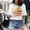Camiseta 2017 Del Verano Mujeres Del Estilo Harajuku Fake Dos piezas T camisas A Rayas de Algodón Impresión de la Letra de Manga Larga Camiseta Casual de Las Señoras Top