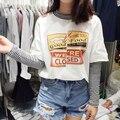 Camiseta Verão 2017 Mulheres Estilo Harajuku Falso Duas peças T camisas Listradas Carta Impressão de Algodão de Manga Comprida T Ocasional Das Senhoras Top