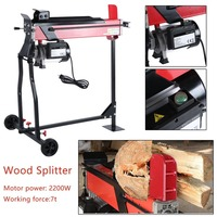 New 2200W High Power Electric Hydraulic Wood Log Cutter Wood Splitter Chopping Machine With Bracket Work Stand Garden Tool Set