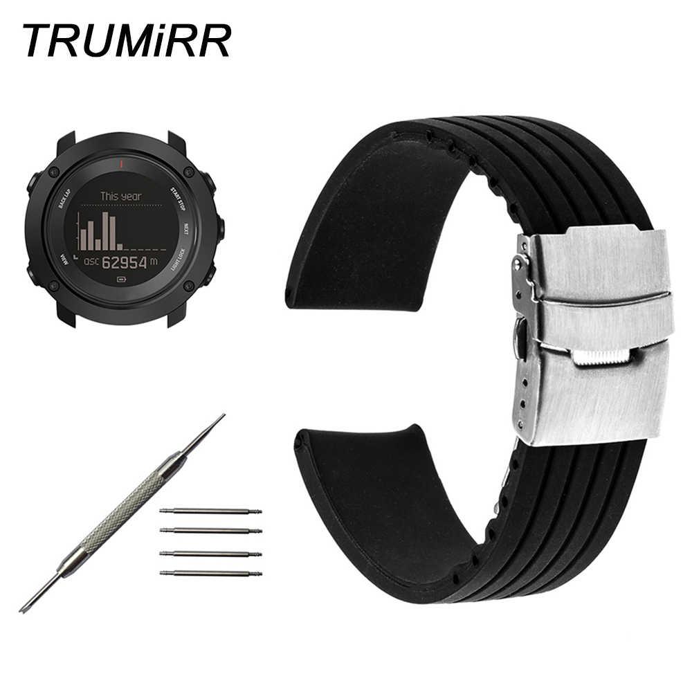 Pasek do zegarka z gumy silikonowej + narzędzie do Suunto 9/Ambit 3 pionowy/Spartan Sport HR stali nierdzewnej zapięcie bezpieczeństwa bransoletka w stylu paska na nadgarstek czarny