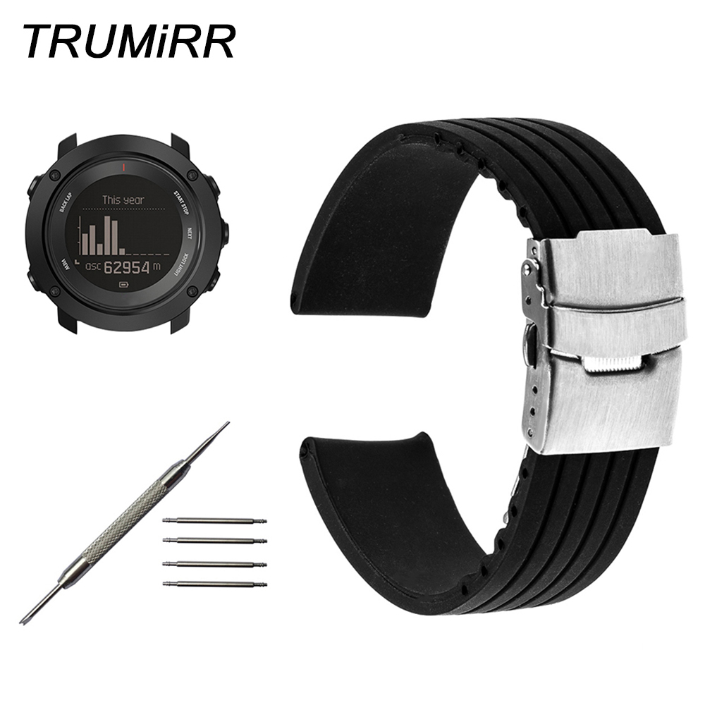 Silicone Rubber Watchband + Tool for Suunto Ambit 3 Vertical / Spartan Sport HR Steel Safety Buckle Strap Wrist Bracelet Black aetoo spring and summer new leather handmade handmade first layer of planted tanned leather retro bag backpack bag