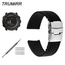 Silicone Rubber Watchband + Tool for Suunto 9/ Ambit 3 Vertical / Spartan Sport HR Steel Safety Clasp Strap Wrist Bracelet Black