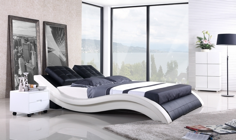 Mybestfurn Sofa Bed 2013 New Modern Design Top Grain Leather Cover King Queen Size Soft Bed Modern Leather Soft Bed A021