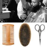 Portable Multifunction Beard Care Set Brush Comb Scissors Men Beard Mustache Wood Beard Repair Tool Shaving Brush Drop Shipping Beauty Tools