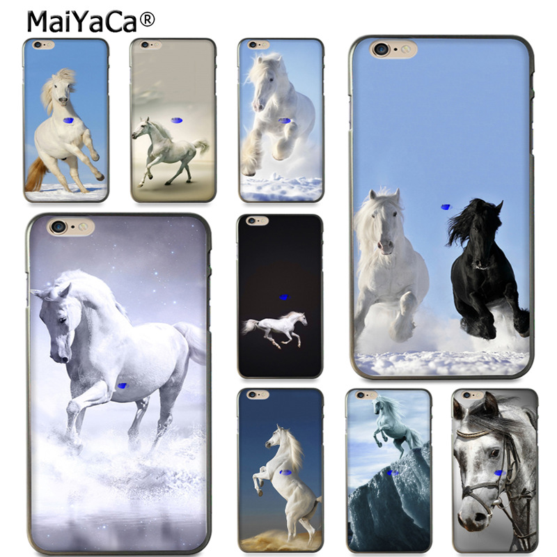 Maiyaca Бег white_horse-wide дизайн моды кожа тонкий черный cell чехол для iPhone 8 7 6 6 S Plus X 10 5 5S SE 5C случае Coque