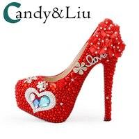 Свадебные туфли для невесты Роскошные туфли лодочки розовый белый красный жемчуг Rhinstone высокое Высокая платформа принцессы цветок привлек