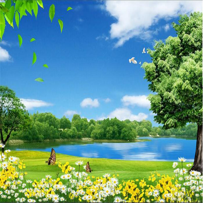 Beibehang Custom Flower Lake Trees Natural Beauty Painting Photo 3d Wall Mural Wallpaper Papers Home Decor Papel Contact In Wallpapers From