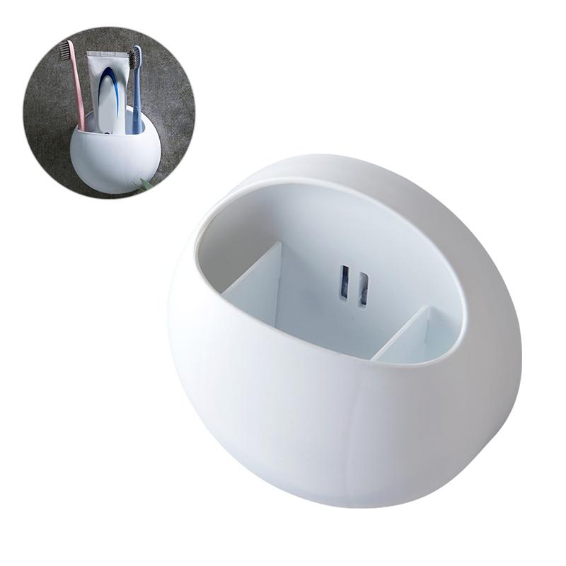 1 PC Wall Mounted Toothbrush Holder Non Toxic Free Of Punch Plastic Sturdy Organizer Toothpaste Holder Bathroom Accessories-in Toothbrush & Toothpaste Holders from Home & Garden