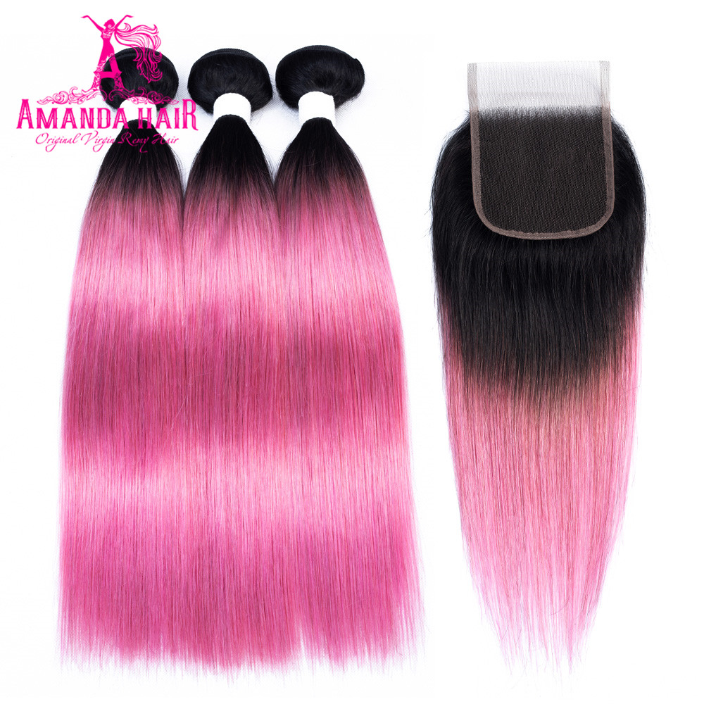 Amanda T1b/pink Brazilian Straight Human Hair Weave Bundles With Closure Free Part Remy Hair 3 Bundles With Lace 4x4 Closure