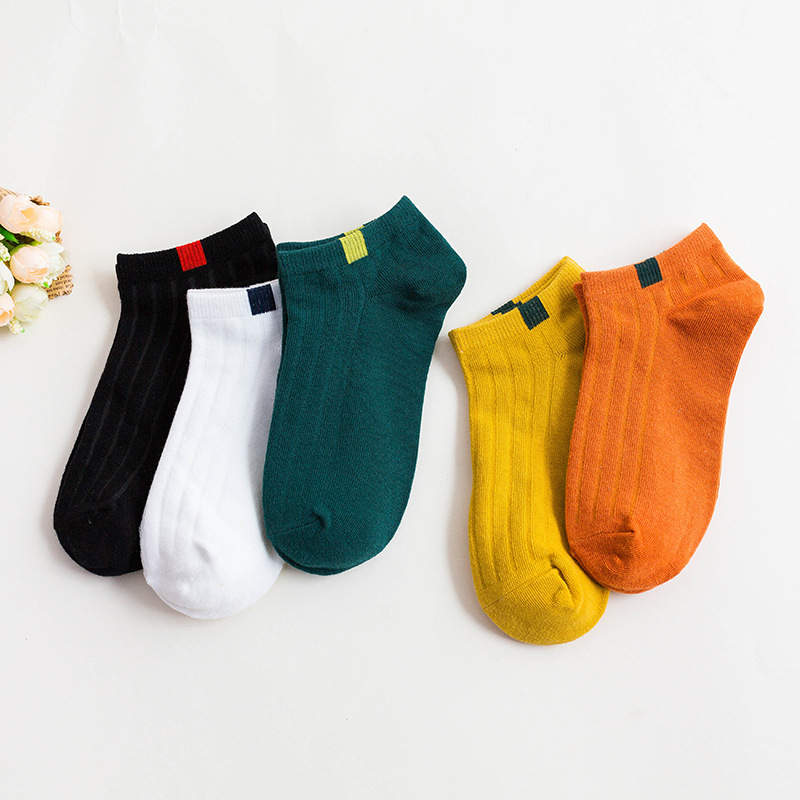5 Pair/lot Boat Socks For Women Summer White Low Cut Short Socks Ladies Girls Ankle Socks Candy Color Slipper Socks Wholesale