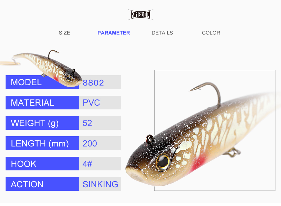 Kingdom Fishing Lures Spinator Soft Lure 200mm 52g wobblers With Spoon On Tail Sinking Action Artificial Bait PVC Material Fishing Lure (3)