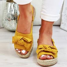 LZJ/женские босоножки из пеньки; Летние босоножки на плоской подошве; женская повседневная обувь с открытым носком и бантом; Sandalias Mujer для женщин; коллекция года