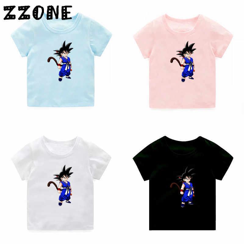 Коллекция 2019 года, одежда для мальчиков и девочек детские летние топы с рисунками из мультфильма «Гоку», детские футболки с аниме «Жемчуг дракона», 5072O