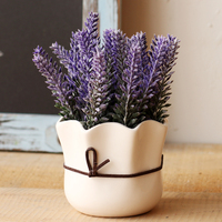 Artificial Flowers Ceramic Flowers Pot Set Wedding Decoration Lavender Simulation Artificial Flores Desktop Plastic Home Decor