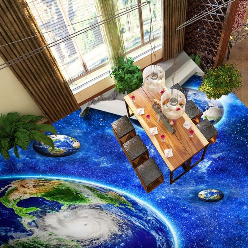 Free Shipping high quality 3D picture flooring paste HD Universe Star Planet Earth waterproof wear floor wallpaper mural the daily village perfect canada white skirt turquoise barely there tops wear hollywood miss picture universe panache bikini
