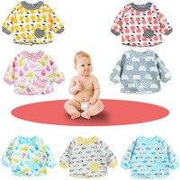 Baby Bibs Cartoon Waterproof Long Sleeve Baby Apron Saliva Towels Infant Cotton Burping Cloth For Children