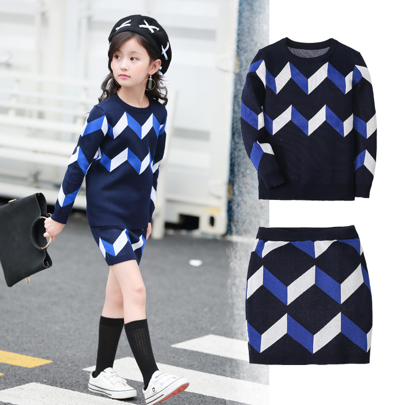 knitting kids clothes tops skirts sets autmn winter knitted clothing for girls knit sweater skirts little teenage girl sets