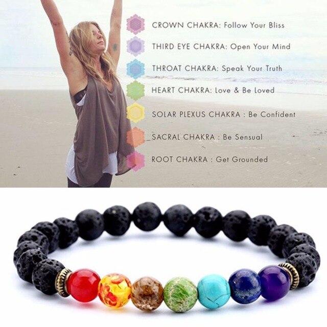 Pulseras de 7 Chakras para hombre y mujer, cuentas sanadoras equilibrio de Lava Natural negra Reiki Buddha, pulsera de oración, Yoga de piedra Natural