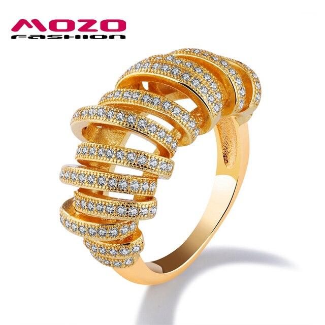 b91d9828bf78 Mozo Fashion nuevos mujer Joyas oro Color irregular círculo diseño zirconia  boda anillo de dedo del