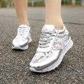 2015 nuevas mujeres cuñas aumento de la altura ascensor encaje transpirable Lace Up moda Casual zapatos deportivos tamaño 35-39 SXQ0625