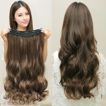 New hot women ladies 19 long curly wavy 5 clips in on hair extensions full head