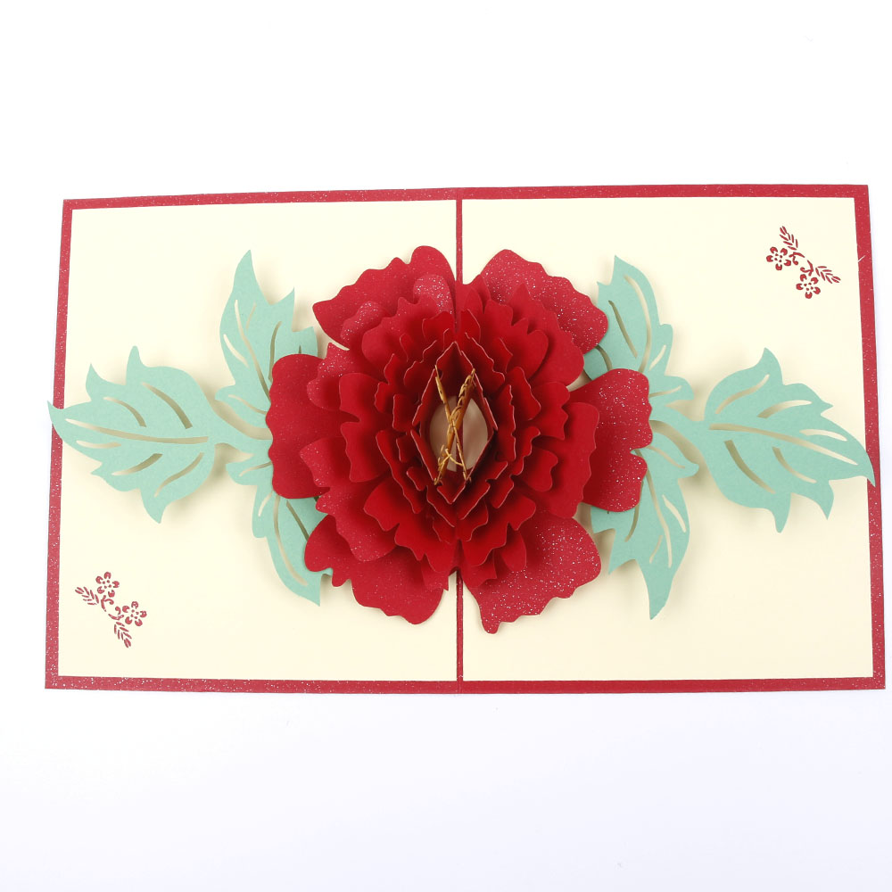 3D Pop Up Greeting Card Peony Mother's day Birthday Valentines Xmas Thanks Gifts