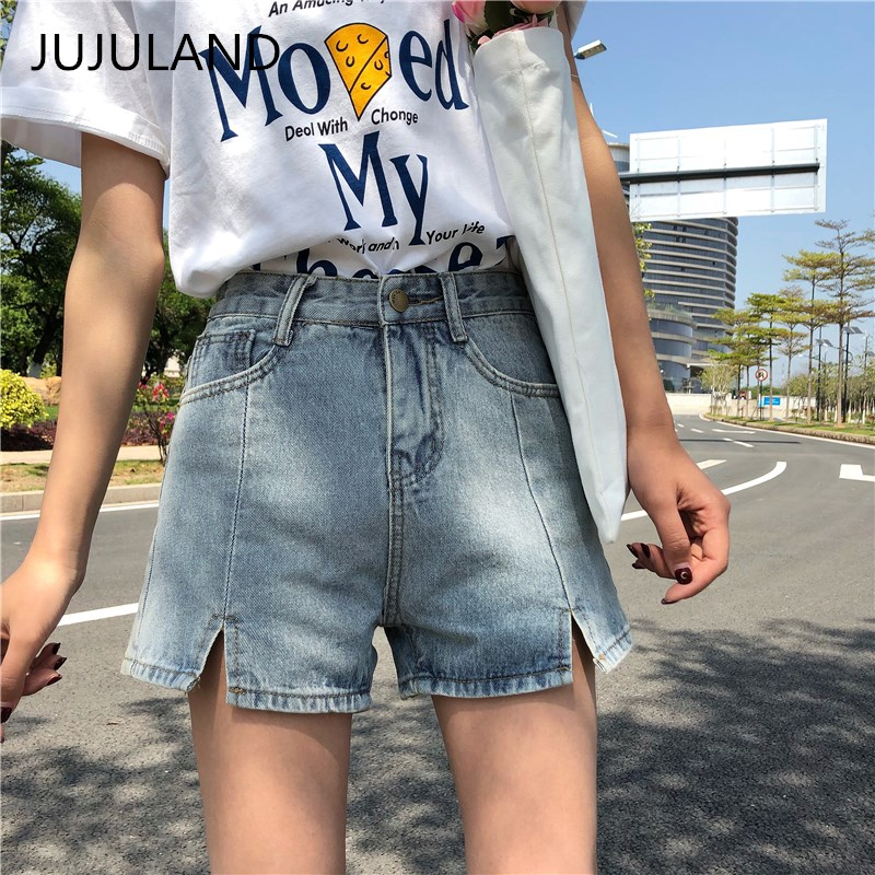 JUJULAND Women Girls Ladies Denim Shorts Light Wash Vintage Casual High Waisted Short Mini <font><b>Jag</b></font> <font><b>Jeans</b></font> Softener Summer 2018