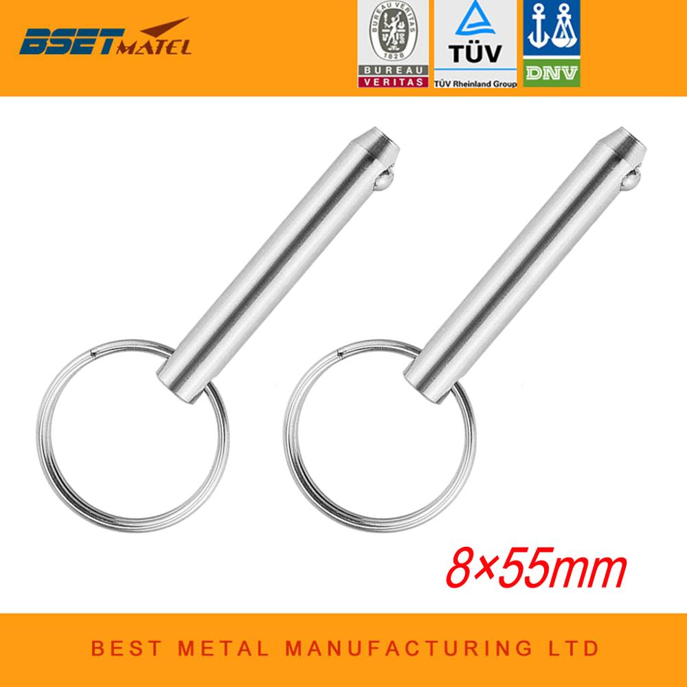 2PCS 8*55mm MATEL Marine Grade Quick Release Ball Pin For Boat Bimini Top Deck Hinge Marine Stainless Steel 316 Boat