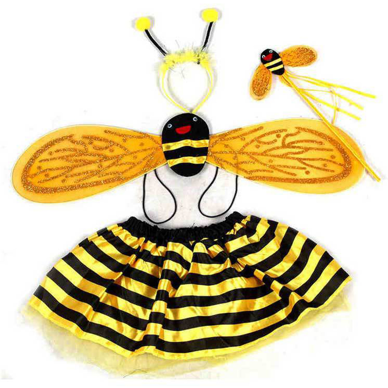 4Piece Sets Halloween Christmas Bee ladybug Costumes for kids girls cute party fancy dress cosplay Wings+Tutu Skirts yellow red